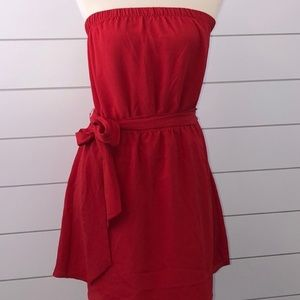 NWT EXPRESS Red Strapless Dress